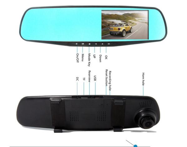 4.3 inch dual lens car camera rearview mirror full hd 1080p waterpropf night vision auto dvrs cars dvr parking video recorder