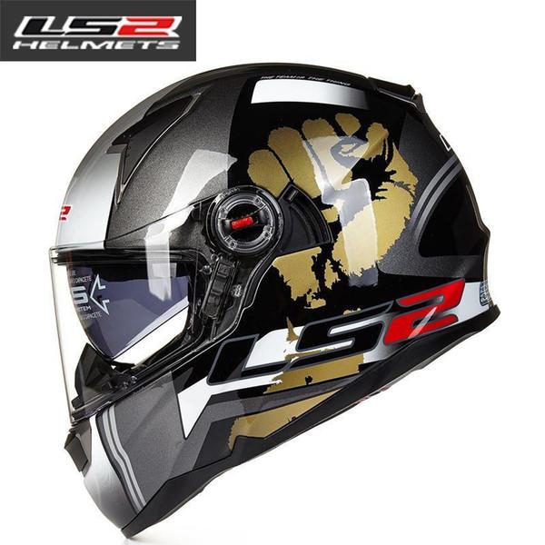 LS2 FF396 Glasfaserhelm Vollvisiermotorradhelm Doppelscheibe mit Airbag-Fahrradhelm ECE Capacete motoqueiro casque moto
