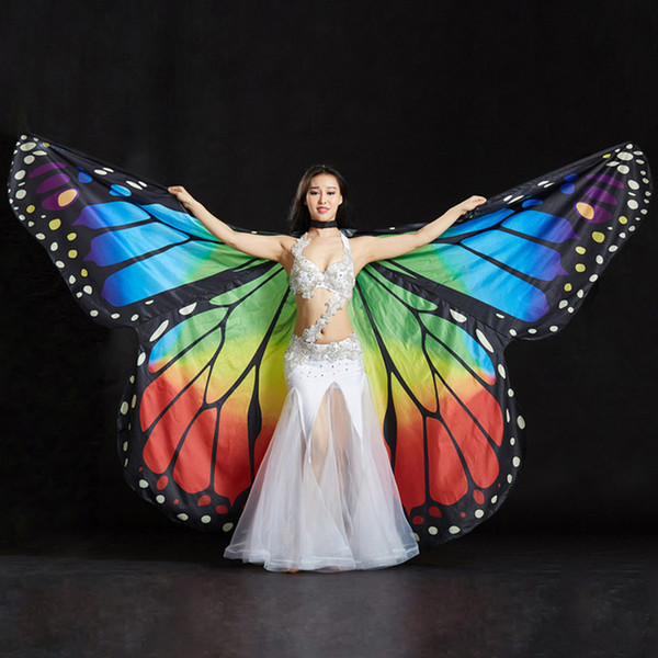 top popular 2019 Performance Women Dancewear Stage Props Polyester Cape Cloak Dance Fairy Wing Butterfly Wings for Belly Dance (with sticks) 2021