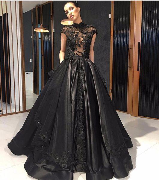 Großhandel 2018 Trendy High Neck Schwarz Abendkleider Sheer Capped ...