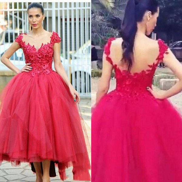 Pretty 3D Floral Appliques Evening Party Dresses Hi-Lo Tulle Gown 2017 Sheer Round Back Sexy Weddings Guest Dress Cap Sleeves