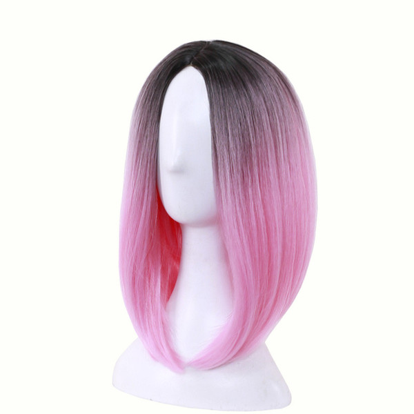 WoodFestival medium length straight hair wig heat resistant bob wigs lolita cosplay women synthetic wigs ombre black green gray pink purple