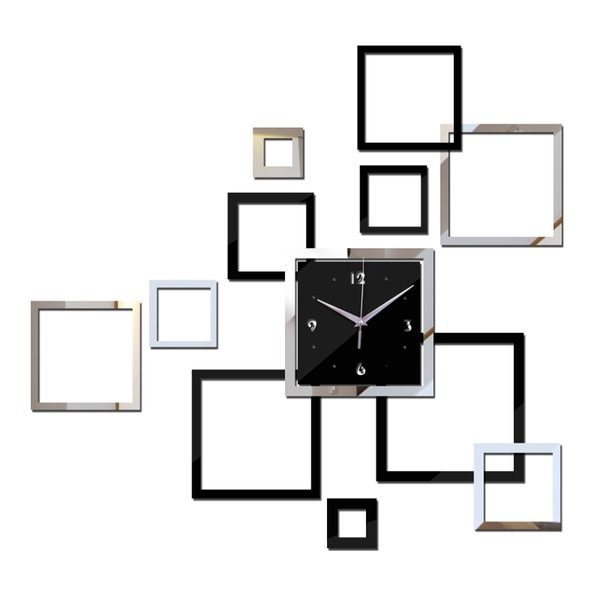 Wholesale-2016 Wall Clock Reloj De Pared Home Decor Watch New Arrival Acrylic Modern Design Clocks Videos Stickers Hot Sale Freeshipping