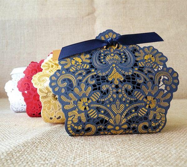 Venta al por mayor-Venta al por mayor 100 X Laser Cut Azul marino / Dorado / Rojo / Blanco / Champange Wedding Candy Box Cajas de regalo Wedding Party Favors Chocolate Box