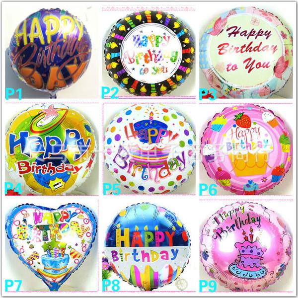 Toptan 18 inç Helyum Folyo balon Mutlu doğum günü balon Çocuk Doğum Günü Partisi dekorasyon balon karışık stil Ücretsiz kargo