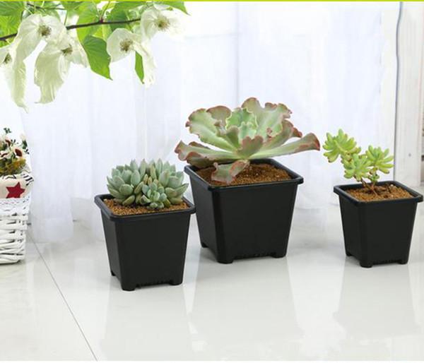 Großhandelsschwarzes Quadrat-Baumschule-Garten-saftige Töpfe für Innenraum-Bonsais, die Miniblumentopf-Versorgungsmaterialien verschiedene Artpotentiometer-Wahl pflanzen