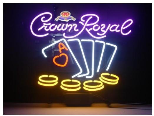 Fashion Handcraft Crown Royal Real Tubes en verre Bar à bière Bar Affiche néon 19x15 !!! Meilleure offre!
