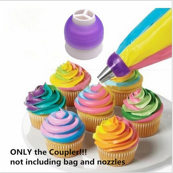Wholesale- 3 Color Icing Piping Bag Nozzle Converter Tri-color Cream Coupler Cake Decorating Tools For Cupcake Fondant Cookie