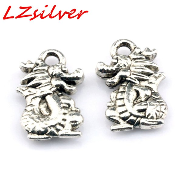 MIC 200pcs Ancient silver zinc alloy Dragon Charms Pendant 10*15mm DIY Jewelry A-110