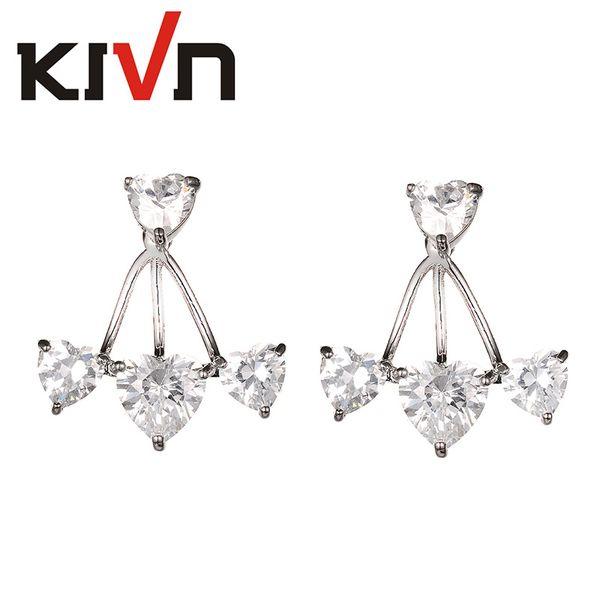 KIVN Fashion Jewelry Heart CZ Cubic Zirconia Women Girls Bridal Wedding Earring Ear Jackets Christmas Birthday Mothers Day Gifts
