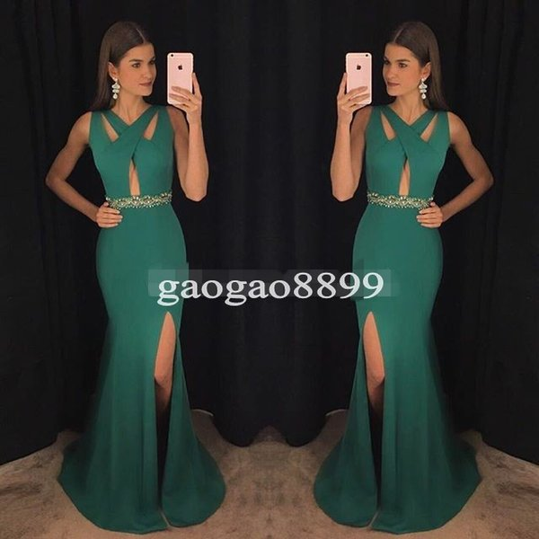 Modern Green V-Neck Prom Dresses 2019 Spandex Mermaid Special Occasion Gowns High Split Formal Evening Dress for Party Celebrity Wear