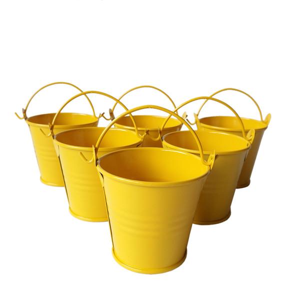 Commercio all'ingrosso giallo mini secchi di latta pentole carino mini secchio di nozze secchi piccoli secchi mini succulente fioriere