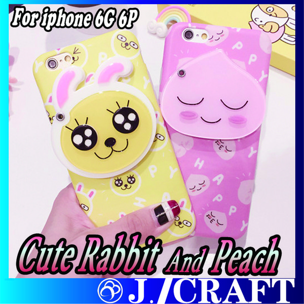Cute Rabbit And Honey Peach Phone Case With Mirror TPU +PC Case For iphone 6G iphone 6P