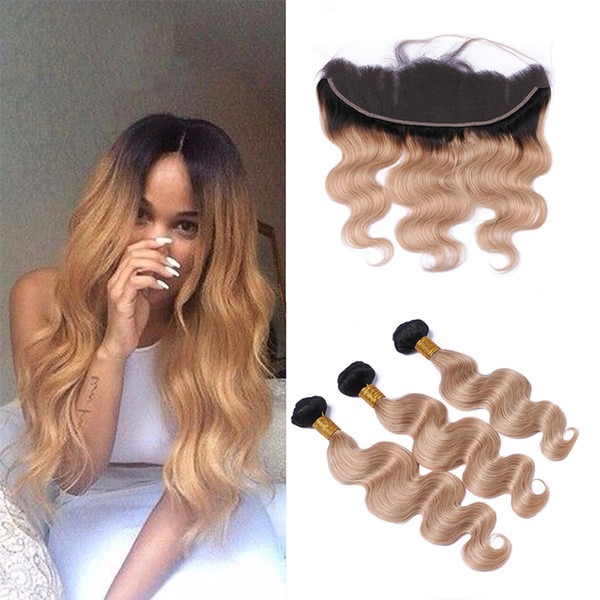9A Ombre Hair Extensions #1b/27 Honey Blonde Ombre Human Hair 3Pcs With 13*4'' Lace Frontal Closure Two Tone Body Wave Hair Weaves
