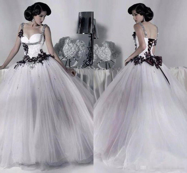 06998563203 White and Black Tulle Wedding Dresses Beaded Spaghetti Strap Gothic Ball  Gown Corset Halloween Bridal Party Gowns 2017 Vestidos Long Vintage