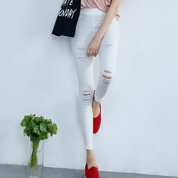 Wholesale- 2017 Cotton High Elastic Imitate Jeans Women Knee Skinny Pencil Pants Slim Ripped Jeans For Women Black Ripped Jeans S-XL