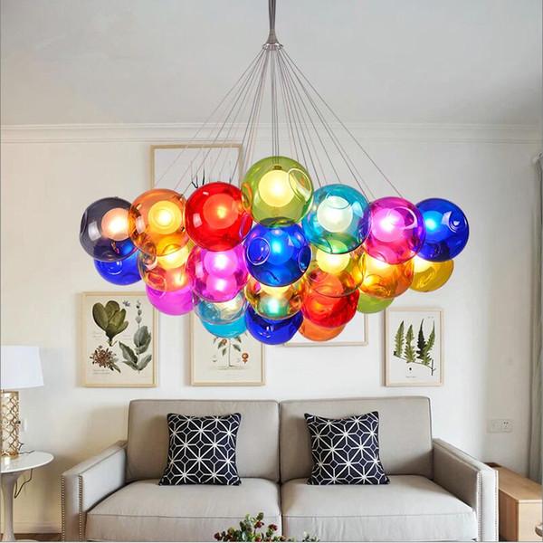 Modern 110V 240V G4 LED DIY Round Glass ball colorful pendant lamps lights 1 light hanging light Bedroom Living Room Cafe Store Shop Lights