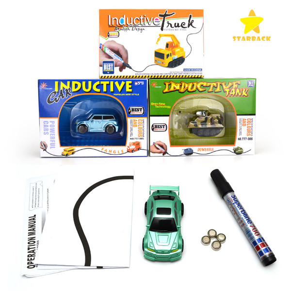 top popular Mini Magic Pen Inductive Fangle Vechicle Toy Children's Car Truck Tank Car Toy Cars with Retail Box 2019
