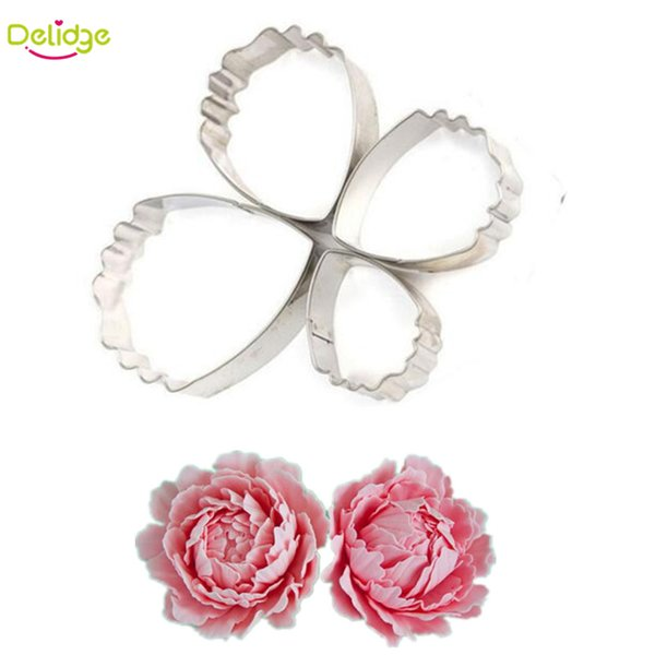4 pcs/lot Peony Petals Cake Mold Stainless Steel Peony Flower Fondant Sugarcraft Cookie Biscuit Cutter Cake Decorating Mold