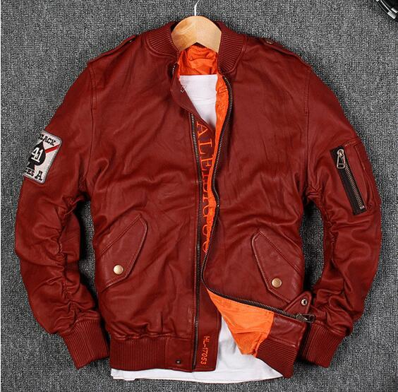 G1 flight bomber jacket air force Flocking sheepskin leather jackets 3 colours 100% genuine leather motorcycle suit