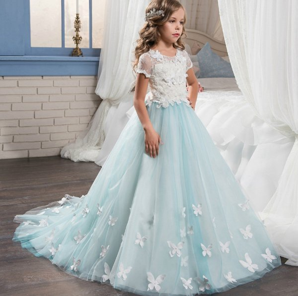 Short Sleeve Lace Girls Wedding Dresses Flower Girls\' Dresses Palace ...