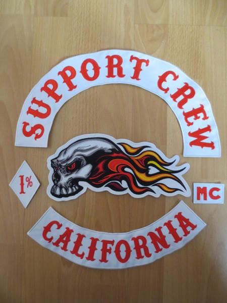 Orijinal Nakış Ceket Motosiklet Kulübü Biker için Yamalar MC Kırmızı ve Beyaz DESTEK CREW
