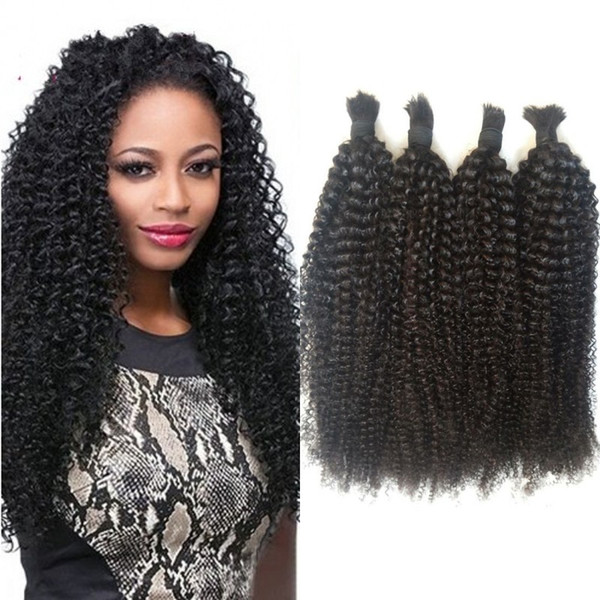 Afro Kinky Curly Natural Color Human Hair Bulk for Braiding 4 Bundles Mongolian Human Braiding Hair Bulk G-EASY