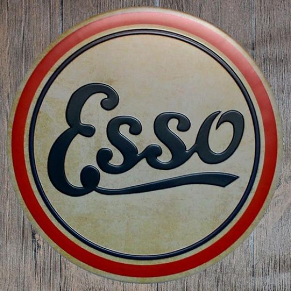 Esso Redondo Retro En Relieve Cartel de chapa Cartel Pared Bar Restaurante Garaje Pub Café Decoración de Navidad Regalo