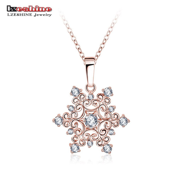 Snowflake Zirconia Pendant Rose Gold Plated Party Gift Wholesale Jewellery Women Necklace Gift Jewelry CNL0215-B