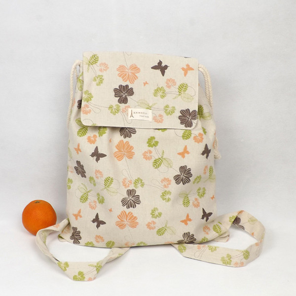 Al por mayor-YILE Handmade Cotton Linen Draw String Backpack Student Book Bag Print Leaf Butterfly WF03