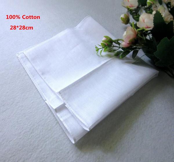 best selling 100% Cotton Male Table Satin Handkerchief Pure White Hankerchiefs Cotton Towel Mens Suit Pocket Square Handkerchief whitest 100pcs lot SF34