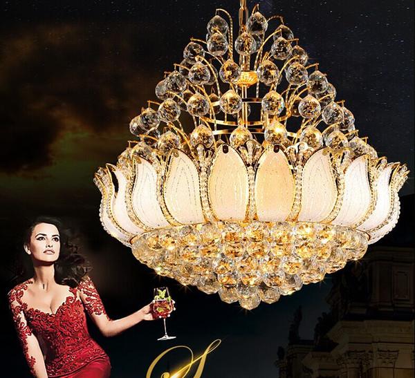 Elegante restaurante, lámpara de cristal dorada, moderna y minimalista, lámpara de cristal cálida y redonda, lámpara de la sala de estar, lámpara LLFA