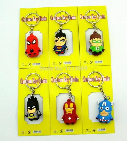 The avengers Iron Man keychain Pendant cellphone strap Captain America Spider Man Superman Batman Figures 100pcs/lot