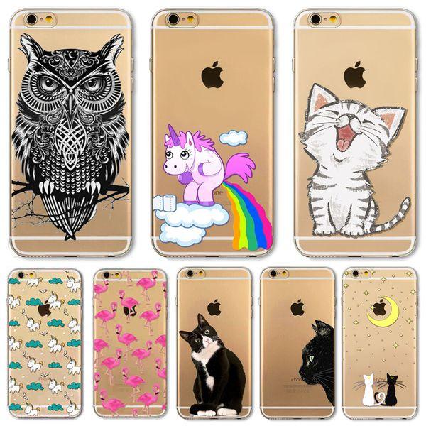 For Apple iPhone 6 6s Plus 5 5S SE 6Plus Case Soft TPU Silicon Transparent Thin Cover Black Cat Dog Owl Rabbit Animal Case