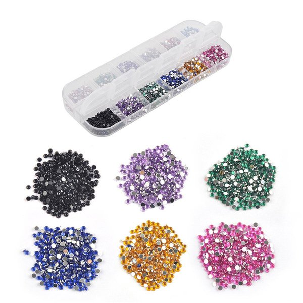 Mélanger 12 Couleur 2mm Cercle Perles Nail Art Conseils Strass Paillettes Acrylique Gel UV Gems Décoration avec Étui Dur 3000 pcs 0603049
