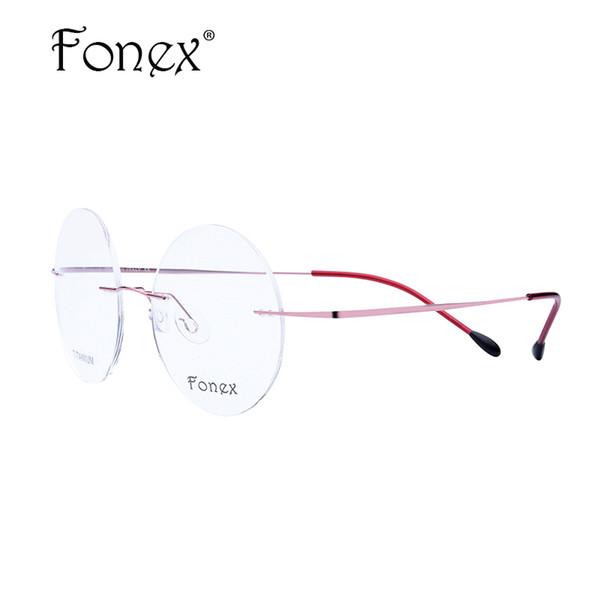 Großhandels- FONEX 2017 neue Frauen / weibliche Runde Randlose Ultra Light Glasses Memory Titanium Brillen Myopie Optischen Rahmen Pink / Lila / Rot