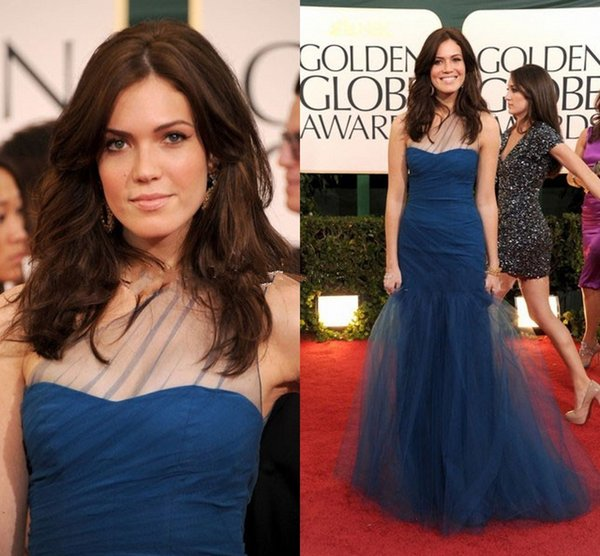Golden Globe 2019 Fashion Design One Shoulder Piega Blu Tulle Red Carpet Celebrity Dresses Elegante Donna Abiti da sera Mermaid Prom Gowns