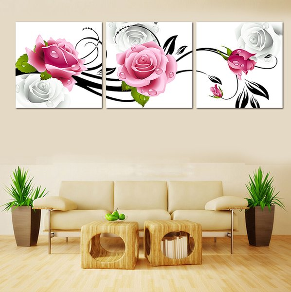 3 Pcs/Set p Unframed Pink Flower Hot Sell Modern The Family Decor Print Mass Painting On Canvas Wall Art Picture Free Shipping