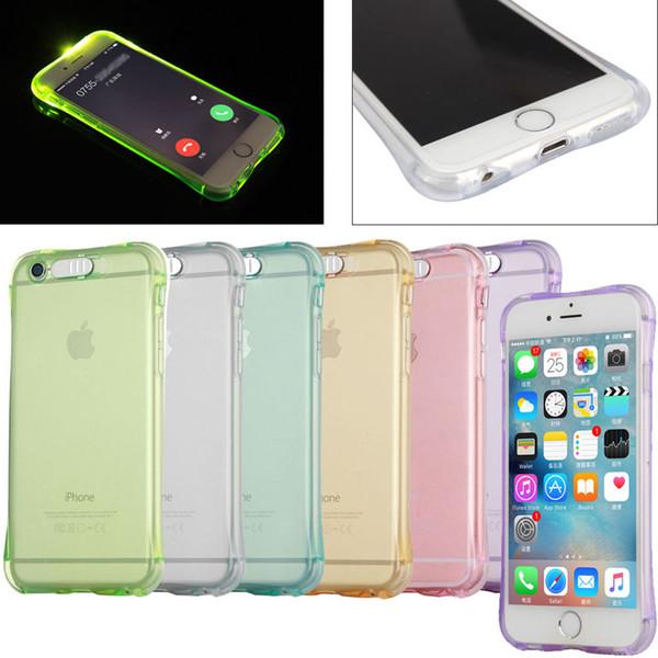 Anti-Klopfen weiches TPU, das LED-Blitzlicht ernennt, erinnern eingehenden Anruf-Fall für iPhone 5 6 6S 7 Plus Samsung-Galaxie S7 Rand Huawei P8 P9 Lite