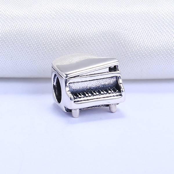 Wholesale Real 925 Sterling Silver Not Plated Piano European Charms Beads Fit Pandora Snake Chain Bracelet DIY Jewelry