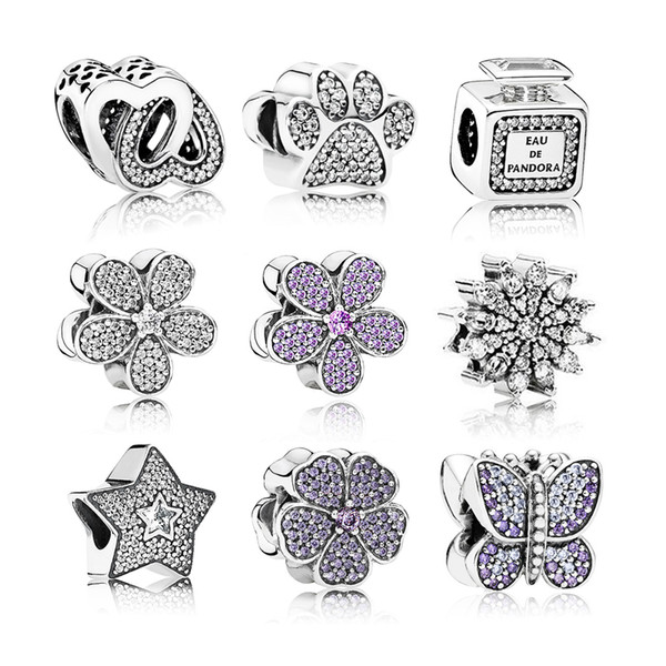 Genuine 100% 925 Sterling Silver CZ Crystal Bead Butterfly Bracelet for Pandora Bracelet DIY Jewelry