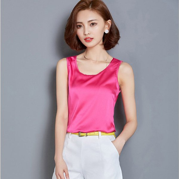best selling Fashion Tank Top Summer Casual Chiffon Bright Silk Sleeveless Vest All-match Female T-shirts for Women Plus Size Solid 8 Colors