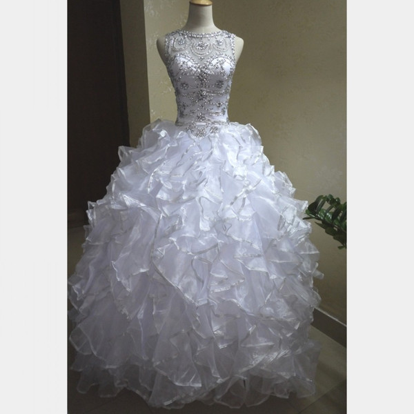 New Design Vestidos de 15 anos Ball Gown White Quinceanera Dresses Sweep Train Silver Edged Ruffles Stunning Crystals Beaded Prom Gowns 2019