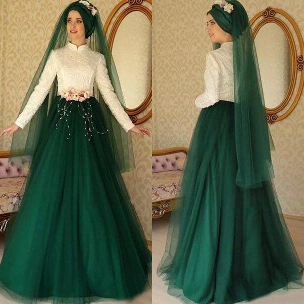 2017 Muslim Ivory Lace High Collar Long Sleeve Top Dark Green Tulle Formal Dresses Evening Gown With Pearls Hand Made Flowers Custom EN9012