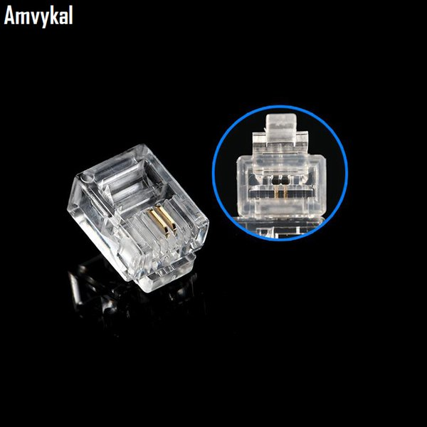 best selling Amvykal High Quality RJ-11 6P2C 6P4C 6P6C Modular Plug Telephone Phone Connector RJ12 6 Pin 6 Contacts Crystal Head Adapter