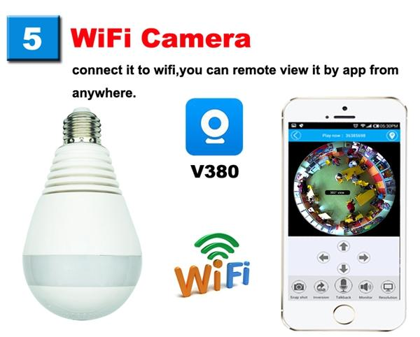 360 Degree Bulb DVR Panoramic WIFI mini IP Camera Home Surveillance Security Network Camera with IR night vision Motion Detection