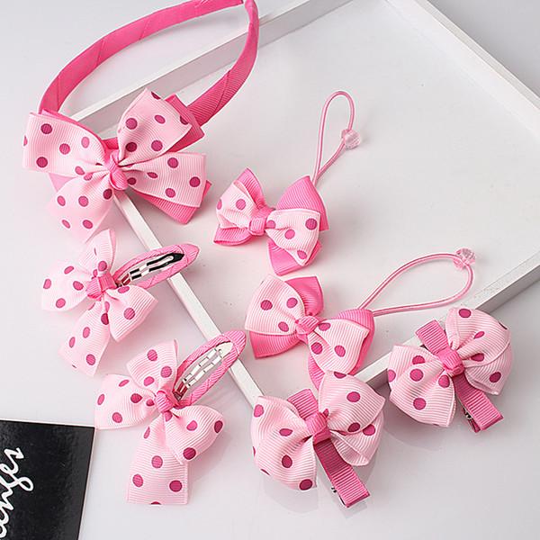 1 set=7pcs Bow Baby Girls Headwear Sets Headband Hairpins Child Accessories Hairband Gum for Hair Hair Clip Barrettes