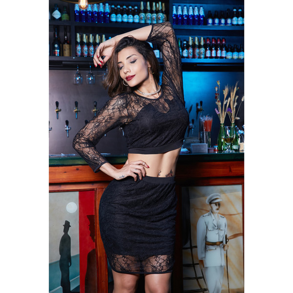 Women Two Piece Dresses Beauty Garden Nice Summer New Fashion Perspective Lace Long Sleeve Sexy Suit Skirt Women Dress