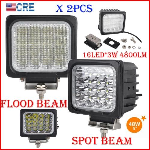 "DHL 2PCS 5"" 48W CREE Chips LED Driving Work Light 16LED*3W Offroad SUV ATV Spot Pencil / Flood Spread Beam 4800LM Square Super Bright WHITE"