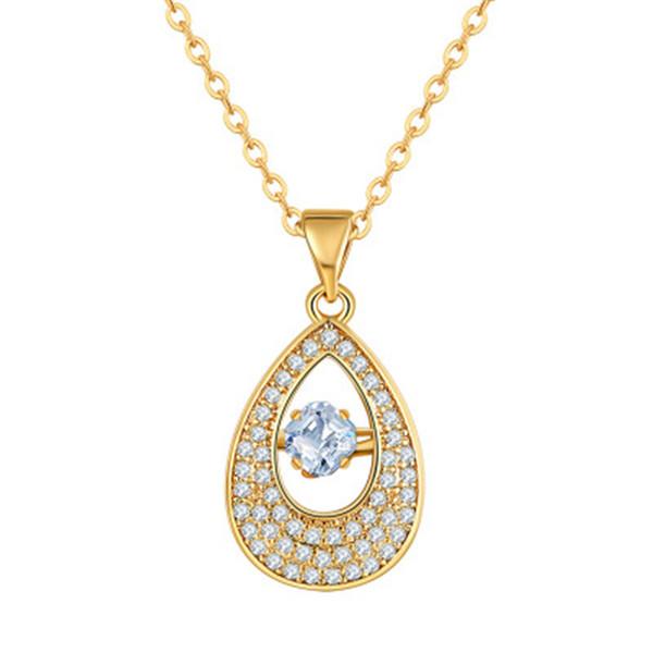 Teardrop Design Vintage Pendant Necklace Swarovski Stone Necklace 18K Real Gold Chain Gold Necklace For Women 022-NE0138